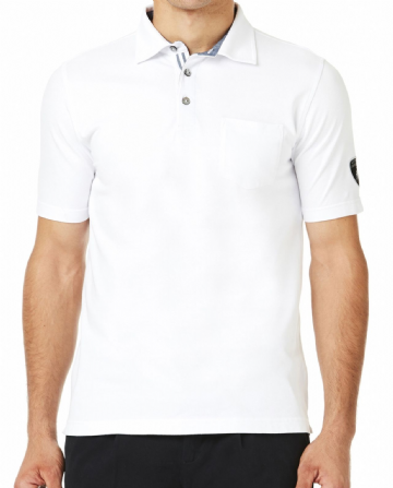 Lamborghini Men's Stretch Piquet polo - Optic White